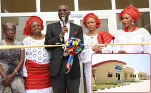 Lagos State Governor, Mr. Babatunde Fashola SAN (middle) cutting the ribbon during the formal commissioning of COWLSO Retirement Villa at the Lekki Phase II, Lekki, Lagos, on Thursday, June 27, 2013. With him are: First Lady of Lagos State and Chairman COWLSO, Dame Emmanuella Abimbola Fashola (2nd left), Senator representing Lagos Central Senatorial District, Matron COWLSO and Visioner COWLSO Retirement villa, Senator Oluremi Tinubu (2nd right), representative of the wife of Brigadier Mobolaji Johnson and Grand Matron/Founder, COWLSO, Mrs Olatoun Williams (left) and wife of Speaker, Lagos State House of Assembly and Vice-Chairman, COWLSO, Mrs. Mayowa Ikuforiji (right). INSET: The COWLSO Retirement Villa, a project of the Committee of Wives of Lagos State Officials.
